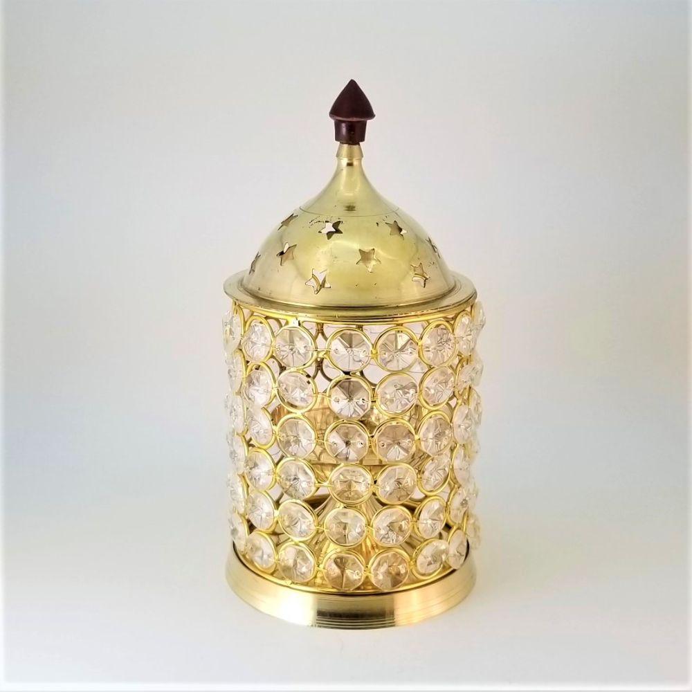 Brass Diya with Cylindrical Crystal Cover & Lid