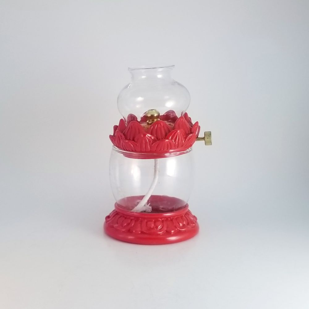 Red Lotus Lamp with Fuel Well