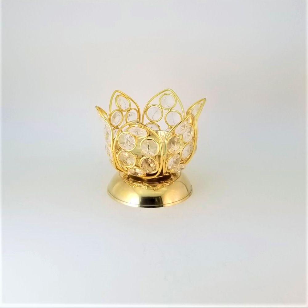Brass lotus diya with crystal petal deco