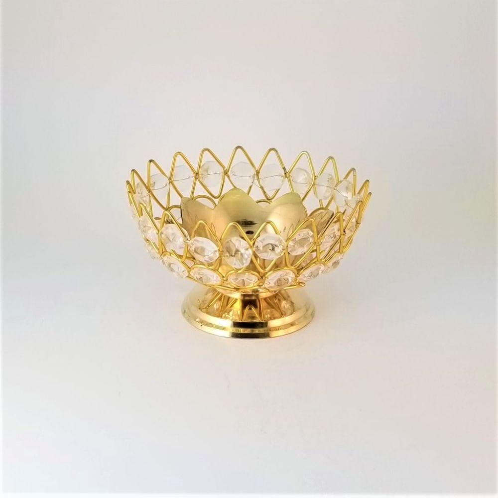 Brass Lotus Diya with Crystals