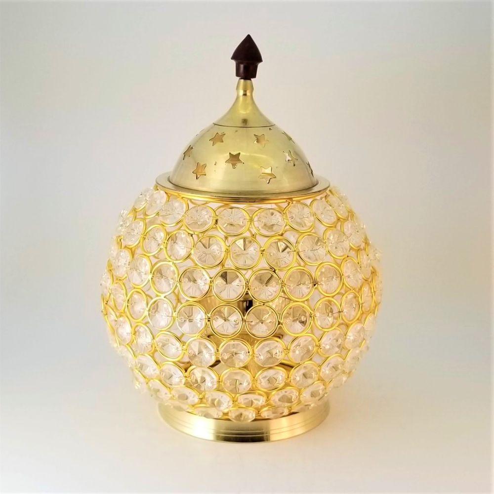 Brass Globe Diya with Crystal Cover & Lid
