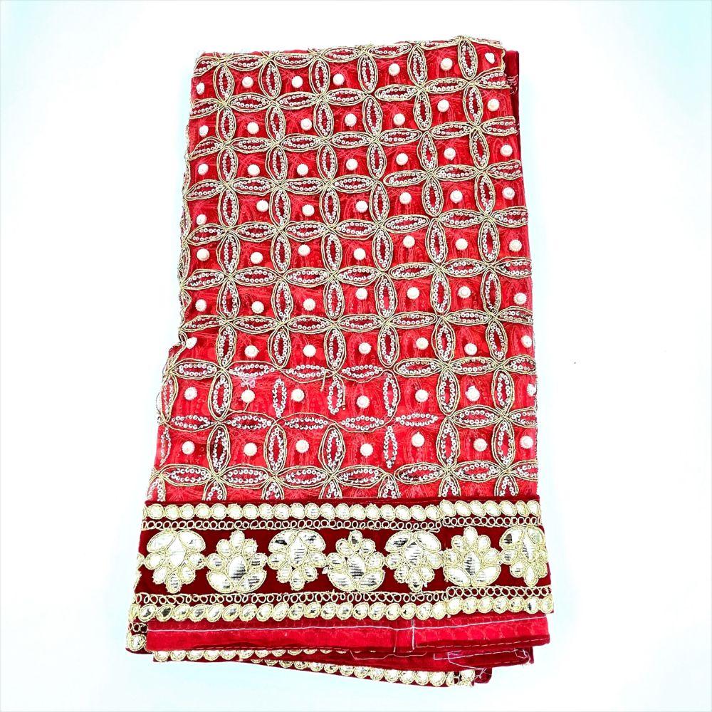 Chunari Red w/ Gold & Moti Floral Design